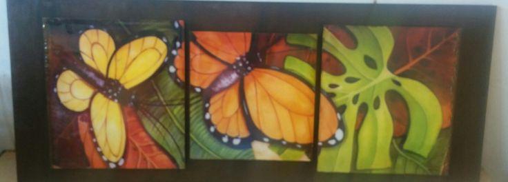 Ciadro triptico con lamina de mariposas
