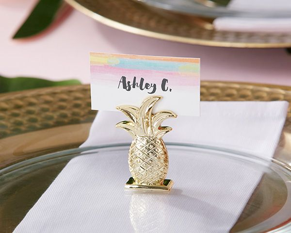 The smallest details make a huge impact! These pretty gold pineapple place card holders add a nice shimmer to each place setting. (They're perfect for a beach or destination wedding!)