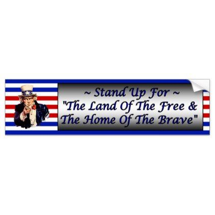 Stand Up For The Flag  Respect Old Glory    Bumper Sticker - craft supplies diy custom design supply special