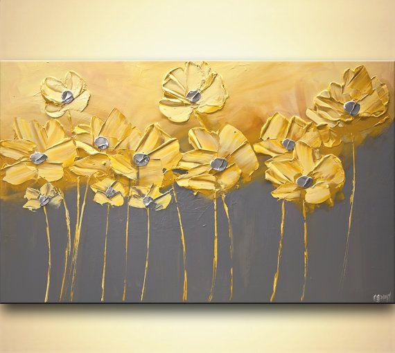 Original jaune Floral peinture acrylique Abstrait par OsnatFineArt