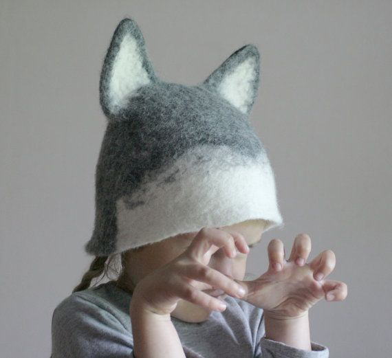 Wolf Hat  Hand Felted Wool  Size Small by vaivanat on Etsy