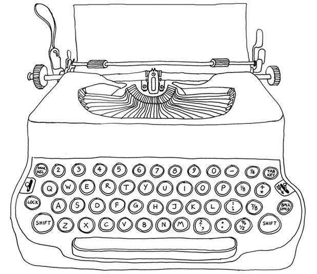 Typewriter line drawing   Tattoos   Pinterest