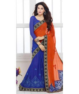 Boldly Blue Chiffon Saree With Blouse.