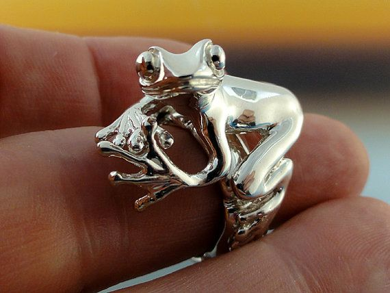 PeanutSterling Silver Tree Frog Ring  MADE by DawnVertreesJewelry, $227.85