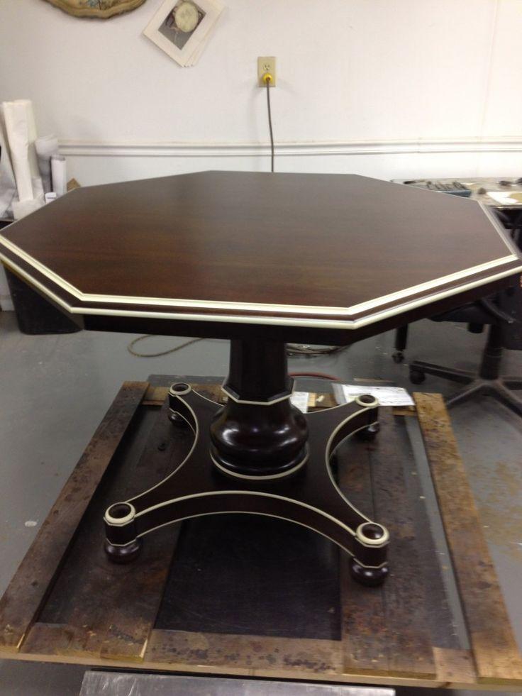 Hickory Chair  Hudson Table with hand striping via The English Room Blog