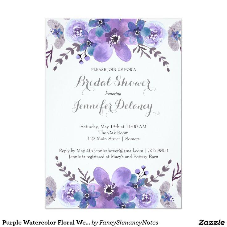 """Ducha floral del boda de la acuarela púrpura invitación 5"""" x 7"""""""
