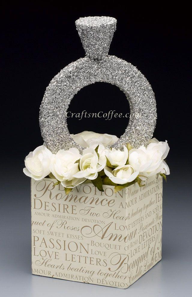 DIY diamond ring: Craft this glittering, diamond ring centerpiece for a bridal shower or wedding celebration