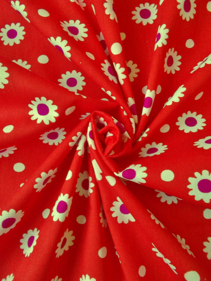 Vintage Cotton Dress Fabric - 1960's/1970's - White & dark magenta flowers on a red background - 1 piece - Unused