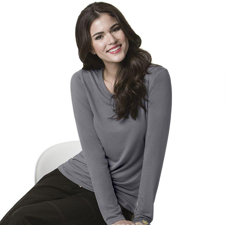 Layers by WonderWink Women's Silky Long Sleeve Underscrub | allheart.com #nursestyle #hospitalstyle #doctorstyle
