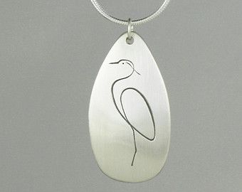 Heron pendant sterling silver copper hand made por JustPlainSimple