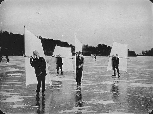 Парусное катание на коньках. Швеция, 1890-1900 год: