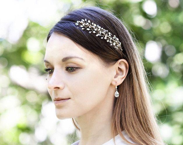 Haarschmuck & Kopfputz - Strass Stirnband, Goldstirnband, Hochzeits - ein Designerstück von Arsiart bei DaWanda