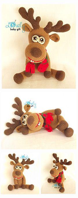 Amigurumi deer, reindeer, crochet pattern, häkelanleitung, haakpatroon, hæklet mønster, modèle crochet