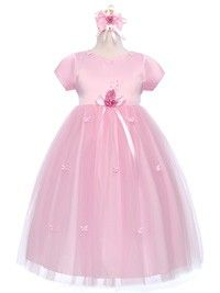 Pink Simple yet elegant looking Butterfly Tulle Flower Girl Dress (Size S,M,L,XL,4 and 6)