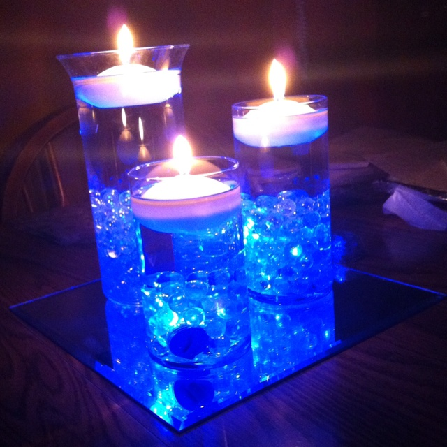 True blue candle light