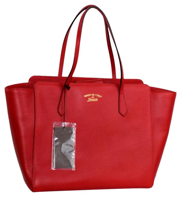 Gucci Textured Leather Trademark Logo Swing 354408 Red Tote Bag. Get one of the hottest styles of the season! The Gucci Textured Leather Trademark Logo Swing 354408 Red Tote Bag is a top 10 member favorite on Tradesy. Save on yours before they're sold out!
