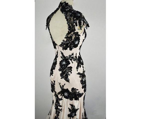 Black white wedding gown classic lace elegant summer banquet dress dresses 2