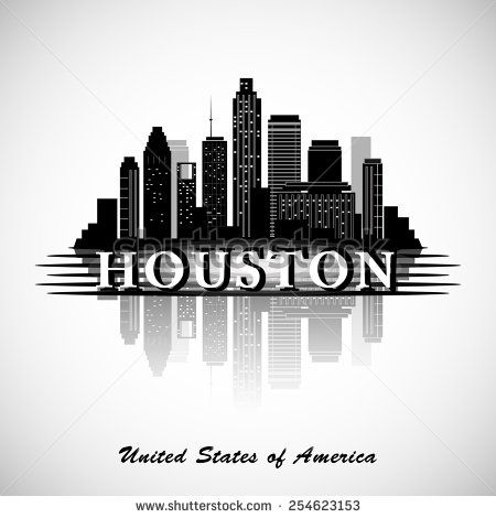 houston skyline silhouette   Houston Texas skyline city silhouette - stock…