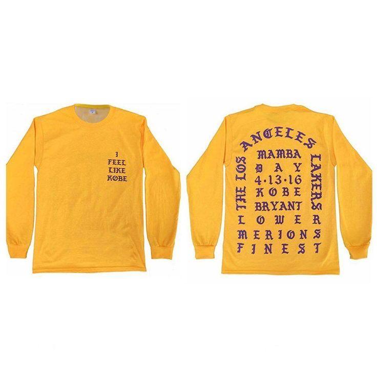 I Feel like Kobe Mamba Day Pablo MSG Long Sleeve T shirt  Yellow Causal Shirts  | eBay