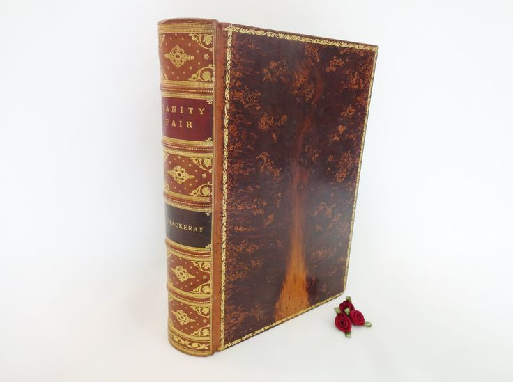 Vanity Fair by William Makepeace Thackeray / Beautiful Tree Calf Full Leather Binding / Marble Edged Pages / Numerous Illustrations by BumperBoxofDelights on Etsy