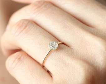 Three Stone Round Brilliant Cut Diamond Engagement by KHIMJEWELRY