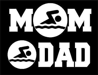 Swim Mom or Swim Dad Car Window Decal Sticker White Vinyl