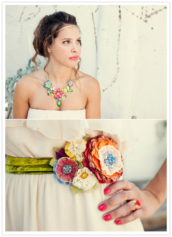 HOLY COWZERS - look at this AMAZING embroidered floral belt!! #DBBridalStyle