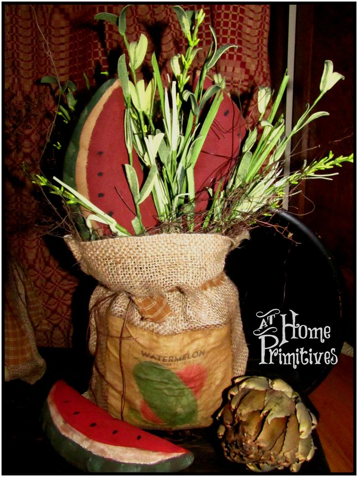 Burlap sack of Watermelon slices by At Home Primitives