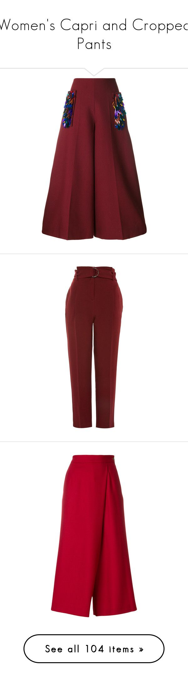 """""""Women's Capri and Cropped Pants"""" by danielle-valentine-666 ❤ liked on Polyvore featuring pants, capris, trousers, red, embellished pants, burgundy pants, delpozo, red trousers, red pants and bottoms"""