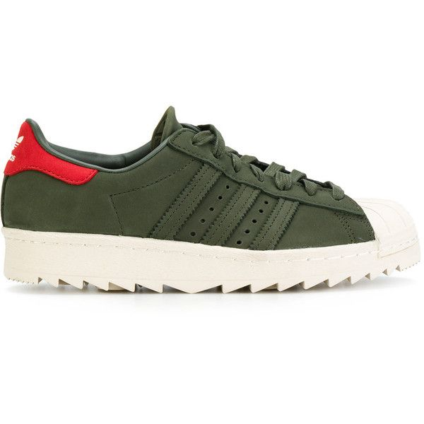 Adidas Cargo Superstar 80s sneakers (145 CHF) ❤ liked on Polyvore featuring shoes, sneakers, green, round toe sneakers, adidas trainers, 1980s sneakers, 1980s shoes and low top