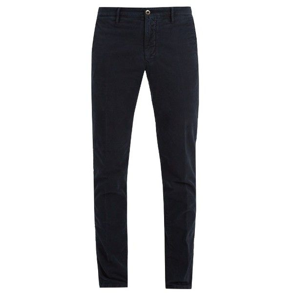 Incotex Slim-leg stretch-cotton chino trousers (705 BRL) ❤ liked on Polyvore featuring men's fashion, men's clothing, men's pants, men's casual pants, navy, mens navy blue pants, mens chinos pants, mens chino pants, mens embroidered pants and mens elastic waistband pants