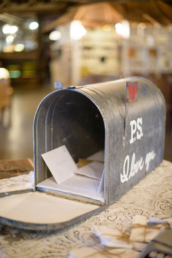 Turn an old farmhouse mailbox into a wedding card box.