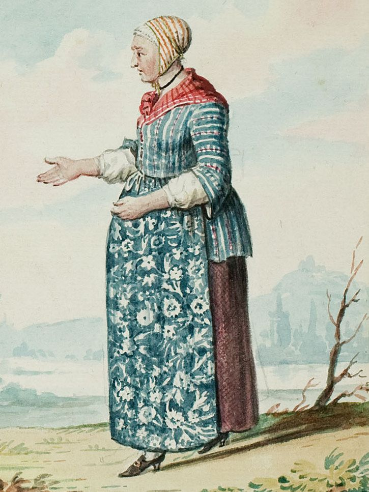 """1770s - 18th century - woman's outfit with mixed print fabrics (jacket in stripes, apron in floral, neckerchief in stripes, and cap in different stripes) - From """"An album containing 90 fine water color paintings of costumes."""" Turin : [s.n.] , [ca.1775]. In the collection of the Bunka Fashion College in Japan."""