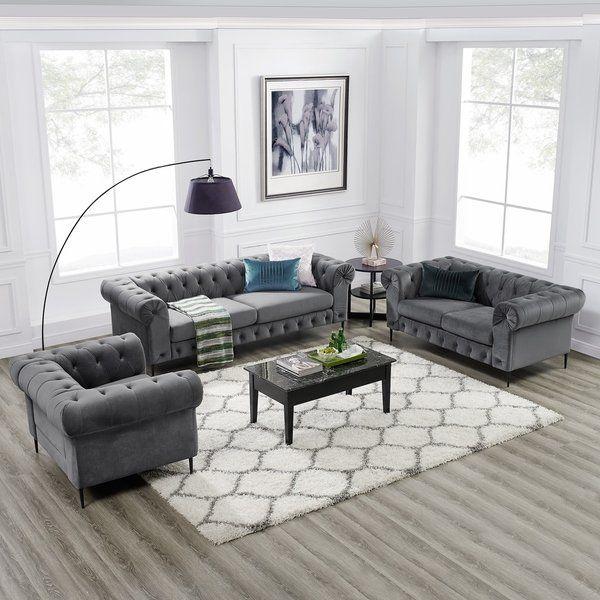 Corvus Prato 3 Piece Tufted Velvet Sofa Living Room Set With Rolled Arms Velvet Sofa Living Room Living Room Furniture Styles Living Room Sofa #velvet #tufted #living #room #set