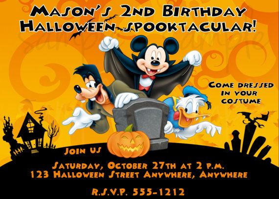 mickey mouse halloween birthday invitation by lovelifeinvites - Happy Halloween Birthday