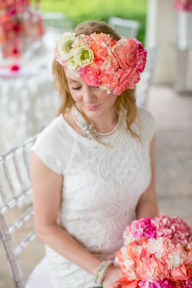 Ombré Flower Headpiece : www.theperfectpalette.com Photo by KMI Photography, Floral Design by Fiore Fine Flowers