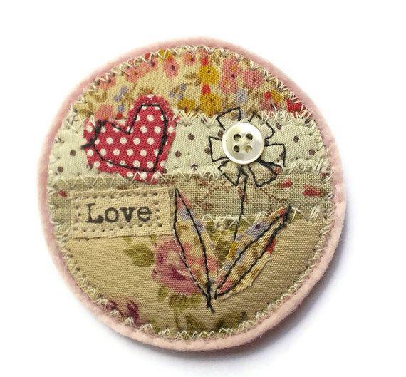 Fabric Brooch, polka dot heart, vintage style, round pin. £12.00, via Etsy.