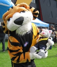 AFL Tiger's Official Mascot giving Edgar a cuddle