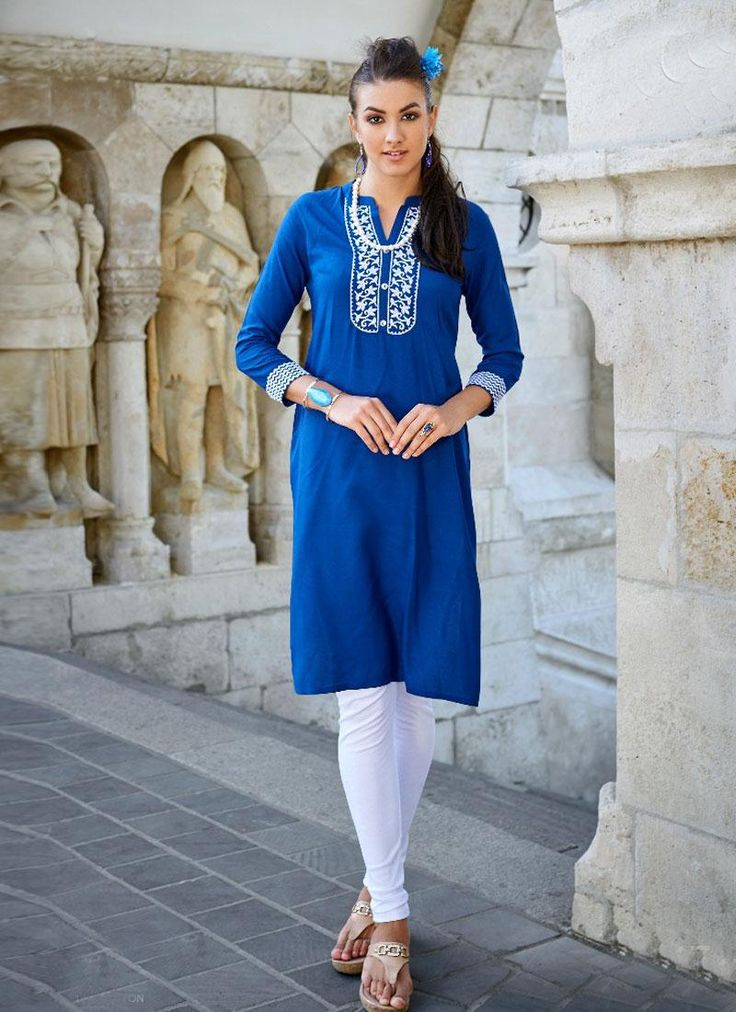 latest blue casual kurtis online shopping in India