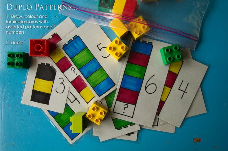 match and count duplo blocks  http://mysmallpotatoes.com/2012/07/21/a-busy-bag-round-up/