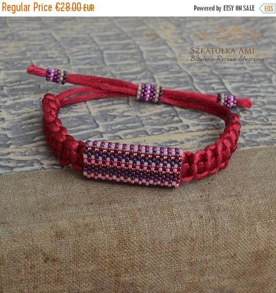 ON SALE Satin string women bracelet Ethnic bracelets Purple #seedbeads #mensbracelets #szkatulkaami