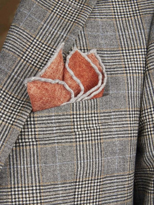 Orange Pocket handkerchief wool Rosi Collection Made in Italy