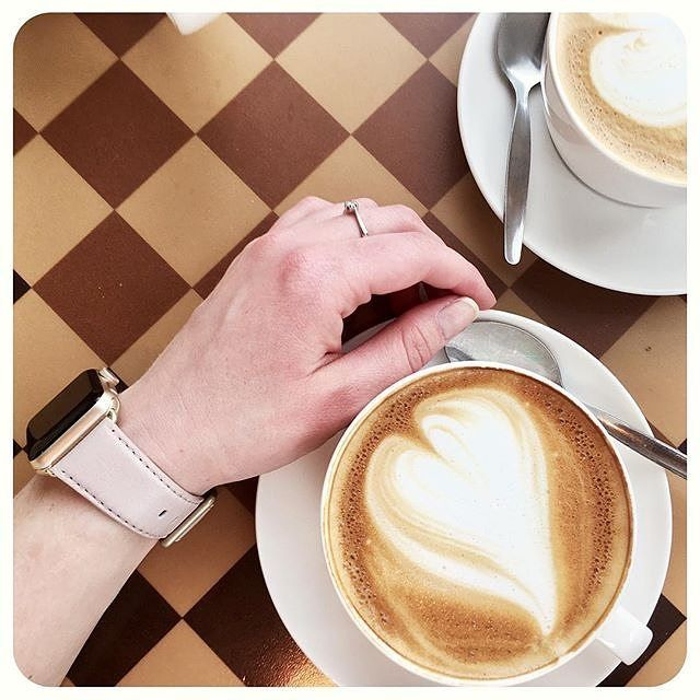 """Meridio (@meridioband) su Instagram: """"Repost @thatecongirl with """"Never without a coffee ☕️ everything's closed for the holiday but at…""""  Discover our collection www.meridioband.com   #leather #madeinitaly #applewatch #applewatchband #fashion #style"""