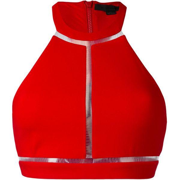 Alexander Wang fish line detail bikini top (370 CAD) ❤ liked on Polyvore featuring swimwear, bikinis, bikini tops, red, swim tops, tankini tops, racerback tankini top, cut out bikini and racer back bikini