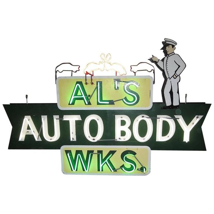 "Large-Scale Neon Sign ""Al's Auto Body Works,"" Double-Sided 1"