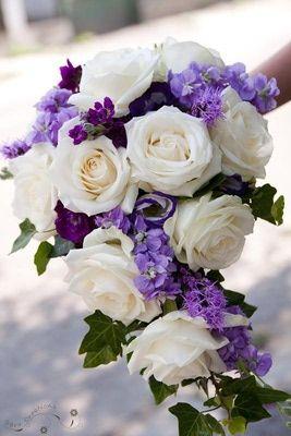 Wedding bouquet- Purple and white floral mix- Bridal Bouquet -cascading bouquet style