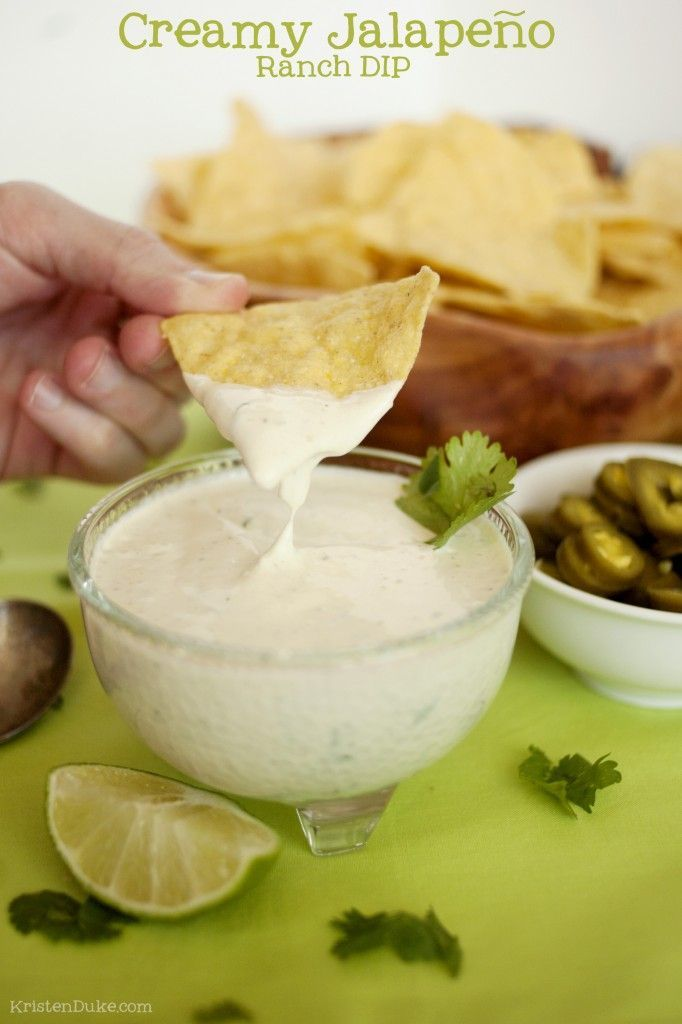 Creamy Jalapeno Ranch Dip - perfect recipe for football playoffs & Super Bowl parties! KristenDuke.com