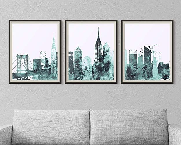 Amazon Com New York Set Of 3 Prints Wall Art Nyc City Triptych Wall Art For Bedroom Home Decorations Unframed Triptych Wall Art Wall Art Sets Wall Art Prints