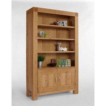 Santana Blonde Oak Bookcase with Cupboard