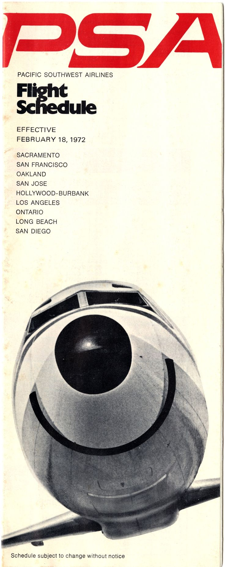 timetable Pacific Southwest Airlines PSA httpwwwflysfo